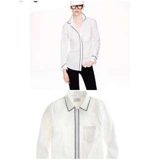 J Crew shirt white with navy trim Size 0/XS