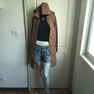 🚚 【tʃiʃi】EQUIPMENT古著70.80年代棕色B字母圖案連帽長袖風衣外套