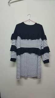 🚚 棉質 長板荷葉造型連衣裙