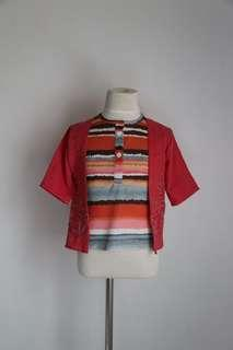 Stripe Blouse with Cardigan