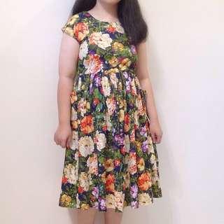 80s Vintage Floral Summer Cotton Dress