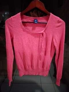 117 GAP Candy Red Tie Collar Top M