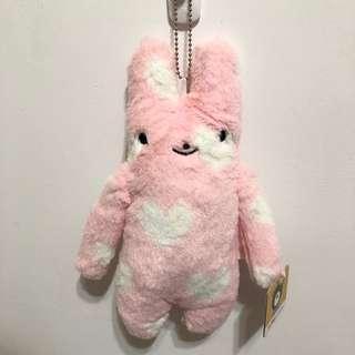 🚚 小兔愛心紋路絨毛娃娃吊飾