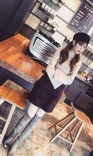 日原單毛茸茸高領針織連身裙