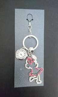 🚚 米妮水晶時鐘鑰匙圈