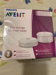 PHILIPS AVENT 2 REUSABLE FRESH FOOD STORAGE CONTAINERS 120ML AND 240ML POTS