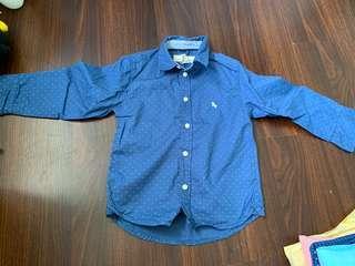 🚚 H&M Kids - Blue with White Polka Dots Shirt