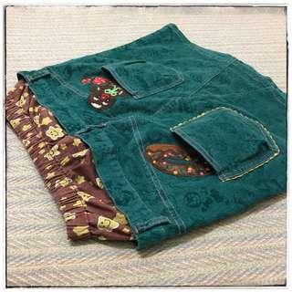 日本媽咪童裝品牌GRAND GROUND 立體繡圖浮雕布蕾 俏皮牛仔絨布裙 M號