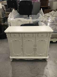 歐風法式古典象牙白雕花🌹三門三抽屜鞋櫃