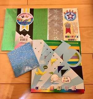 珠光方形色紙+珠光星星色紙+10種大小彩色紙+花草藍色小色紙 只要70元