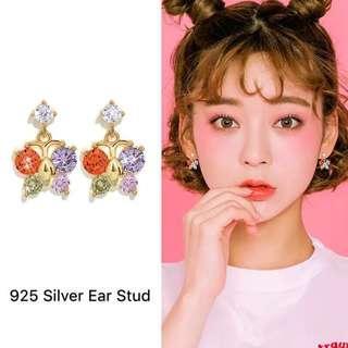 <free pos 3 pairs & above> Korean Design colorful butterflies earrings 925 Silver Ear Stud