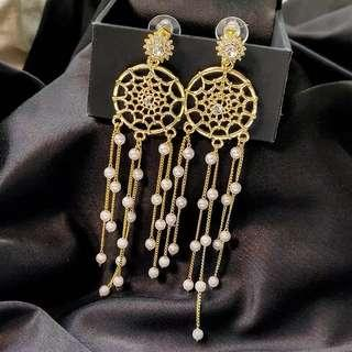 <free pos 3 pairs & above> Korean design diamond dream catcher long earrings with pearl