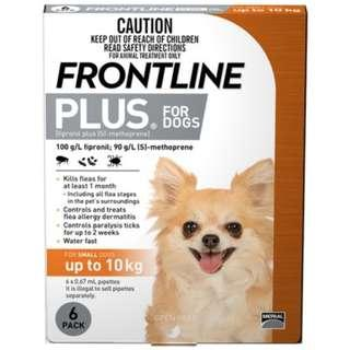 Frontline Plus for dogs up to 10kg. Single dose. For flea/tick prevention.