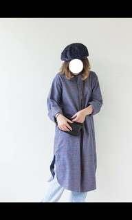 🚚 降價。襯衫洋裝。法國長版pullovers格紋襯衫。深紫 #半價衣服市集