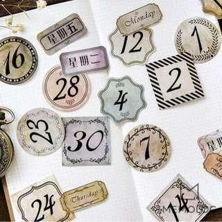 45pcs Retro Daily Date and Day Sticker Pack