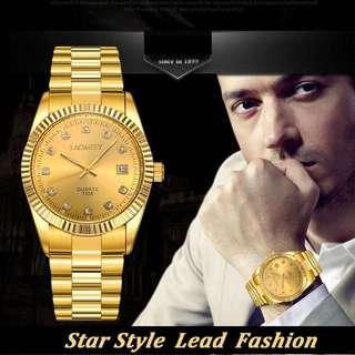 LAGMEEY Gold Quartz Watch Strap Metal Man Diamond Men's Fashion Watch