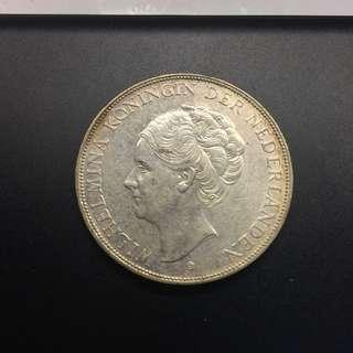 Netherlands holland 1931 2.5 Gulden silver coin