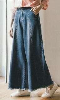 全新。Queenshop  復古牛仔寬褲。鬆緊 #半價衣服市集