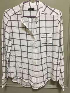 🚚 大降價。PAZZO 滑順 立領格子襯衫 #半價衣服市集