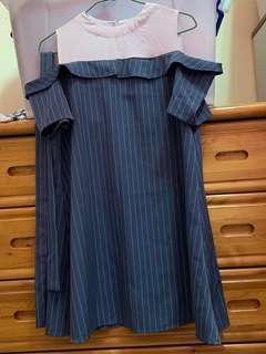 條紋洋裝(附腰帶)