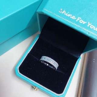全新 925 純銀包白金 size 11戒指 全圈蘇聯石