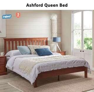 Mint condition solid wood queen bed and mattress x 2