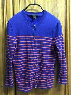 🚚 J.CREW寶藍紅橘條紋針織上衣 外套 美國購入