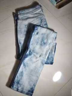 Celana Jeans - Acid Wash with Blue Stripe