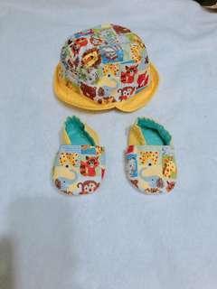 全新手工嬰兒防曬帽+學步布鞋