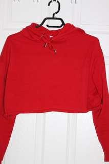 cropped red bluenotes hoodie