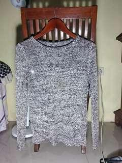 Black white knit long top with little sparkle or sequin