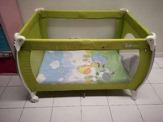 (Free mattress and bed sheet) Halford 2 layer Baby Cot playpen