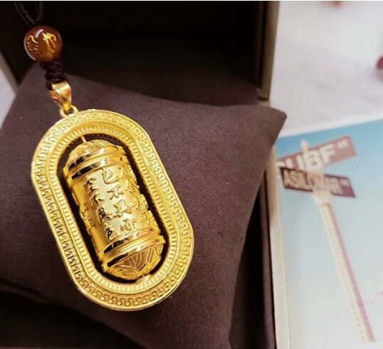 3D hard gold hot gold 999 gold necklace heart pendants prayer tube couples men and women models SF