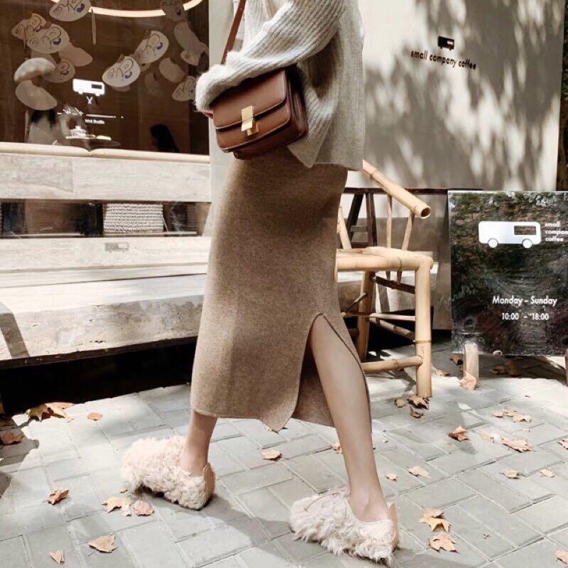 杏色毛呢針織長裙 半身裙