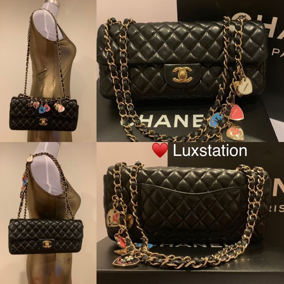 150046d63c30 ❤ Full Set with Receipt- Chanel Black Quilted Lambskin East West ...