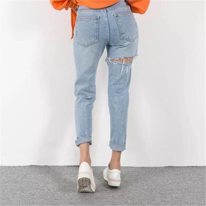 前後刷破歐美牛仔褲 mom jeans