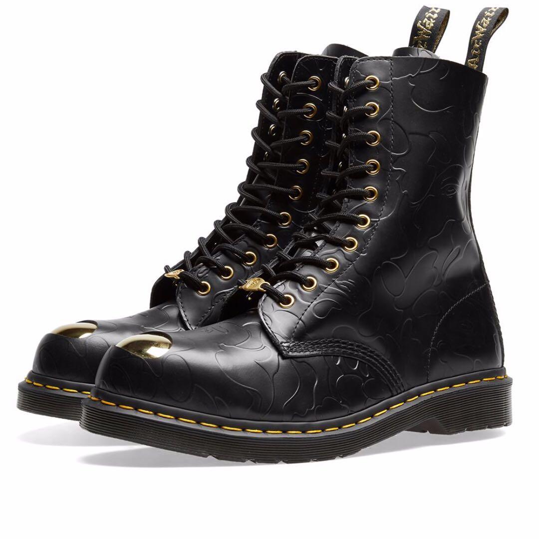 242e675630 A Bape x Dr. Martens 1490 Boot Black Smooth Emboss US9, Men's ...