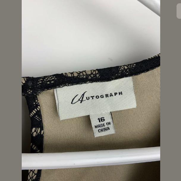 Autograph sz 16 brown nude black lace floral women peplum top shirt plus size