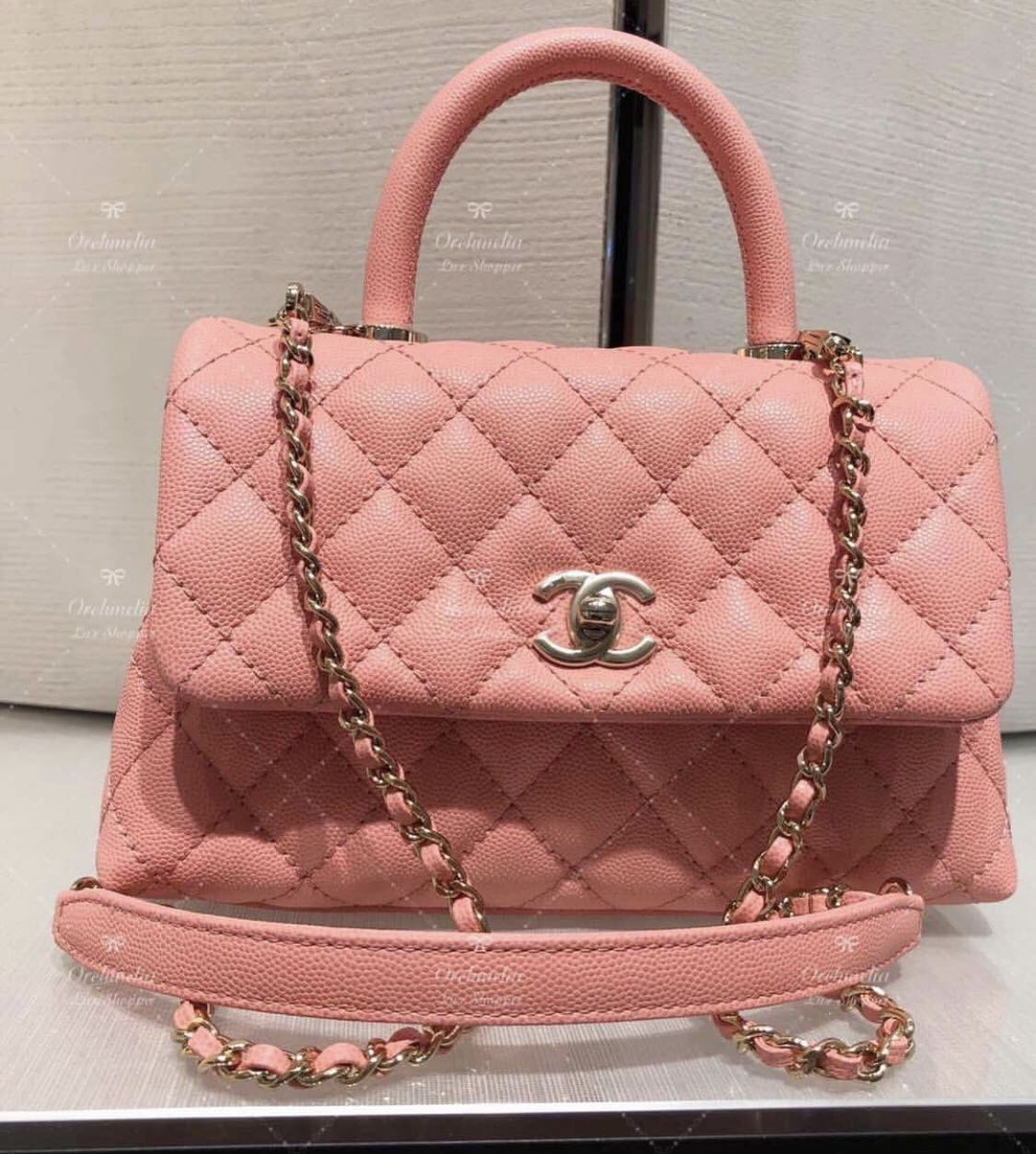 c5c259c5bfba07 BNIB Chanel Mini Coco Handle in Peachy baby Pink, Luxury, Bags ...