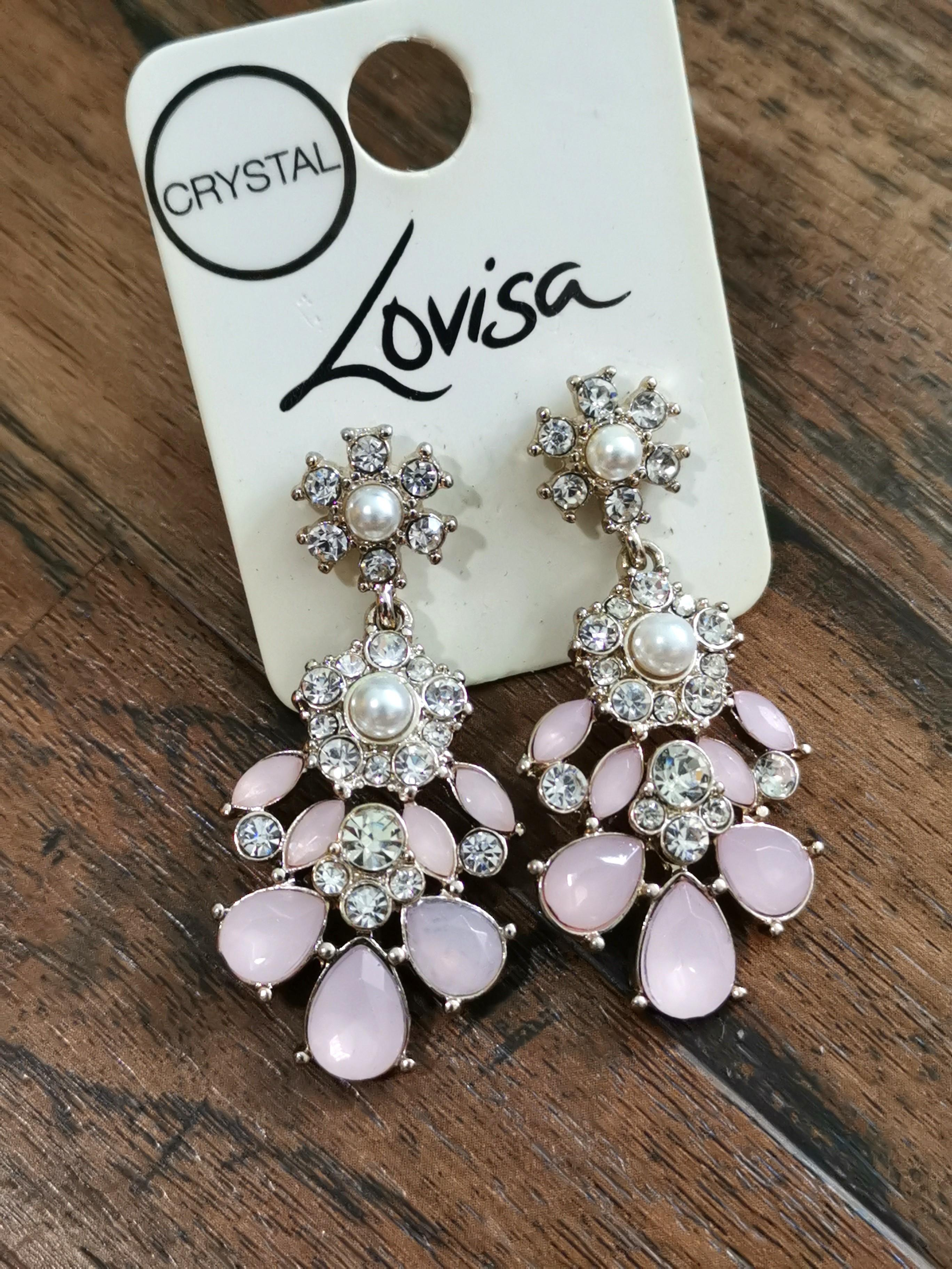 117d66e3ff3c6 Brand new Lovisa Pink crystal and pearl drop glam luxe statement ...