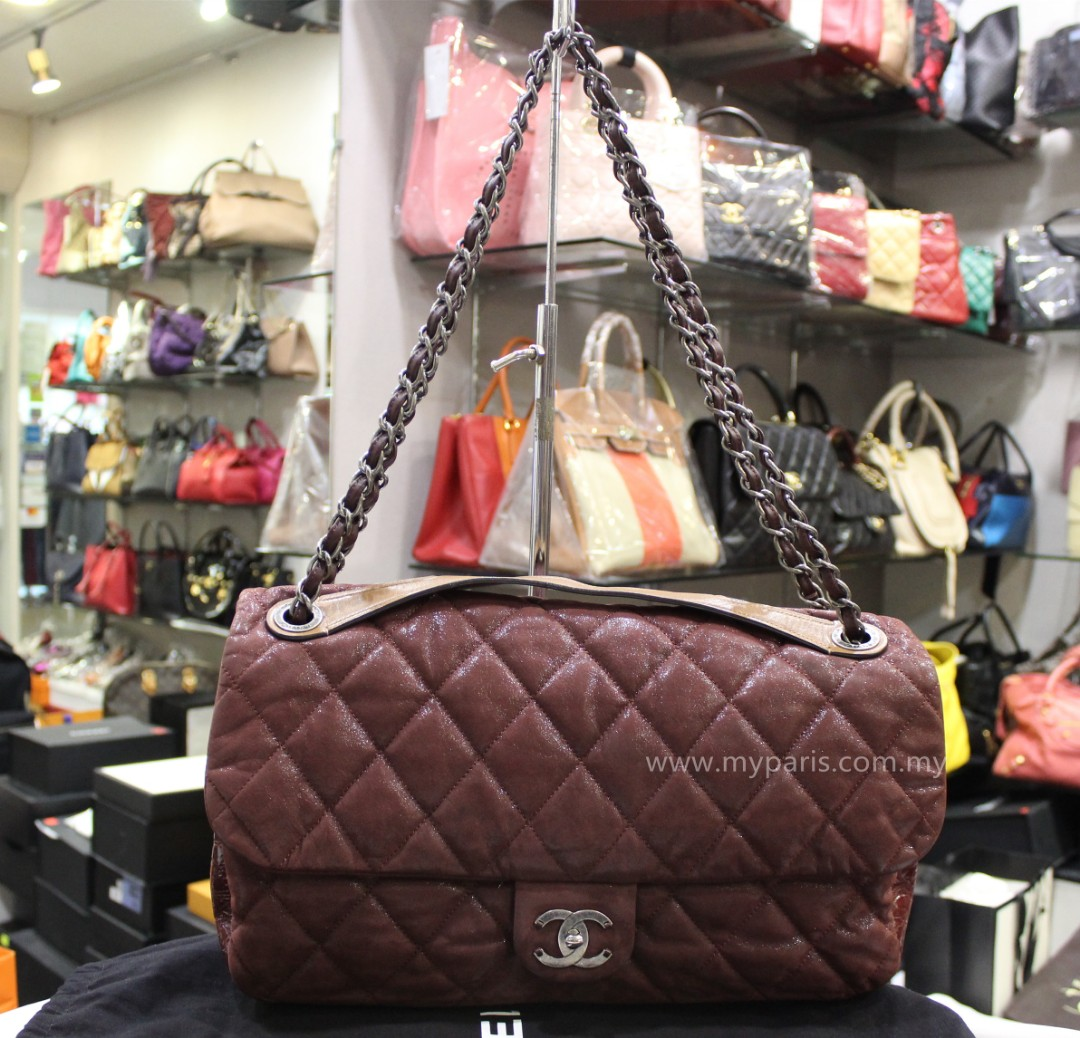 8a3780bc8b77b8 Chanel Quilted Iridescent Calfskin With Glazed Calfskin Maxi Flap, Luxury,  Bags & Wallets on Carousell
