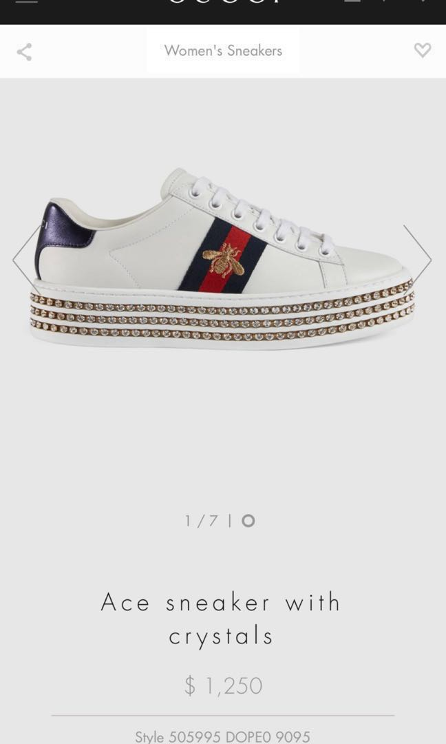 b597afaaaca CHEAPEST) GUCCI Ace Sneakers with Crystals LIMITED EDITION