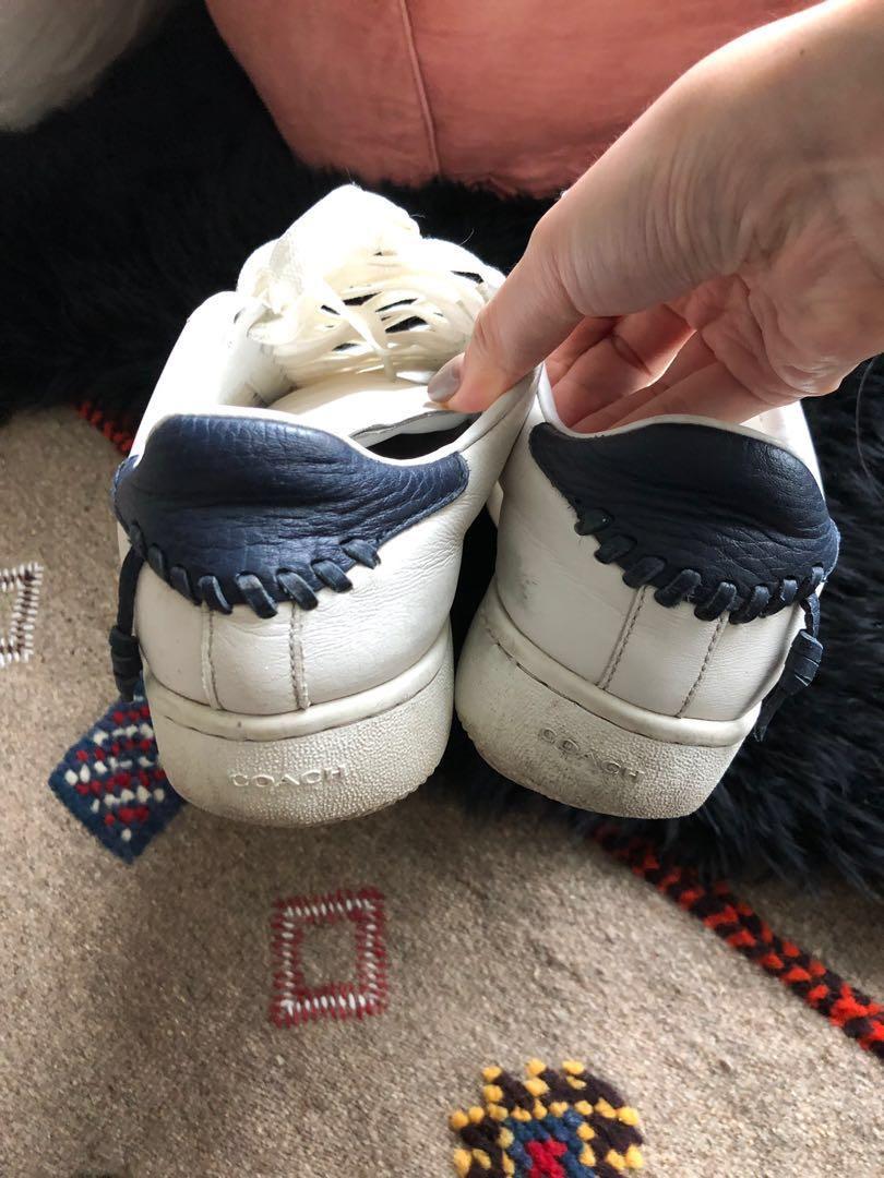 Coach white sneaker original price $260+  size 8.5 good for size 9-10