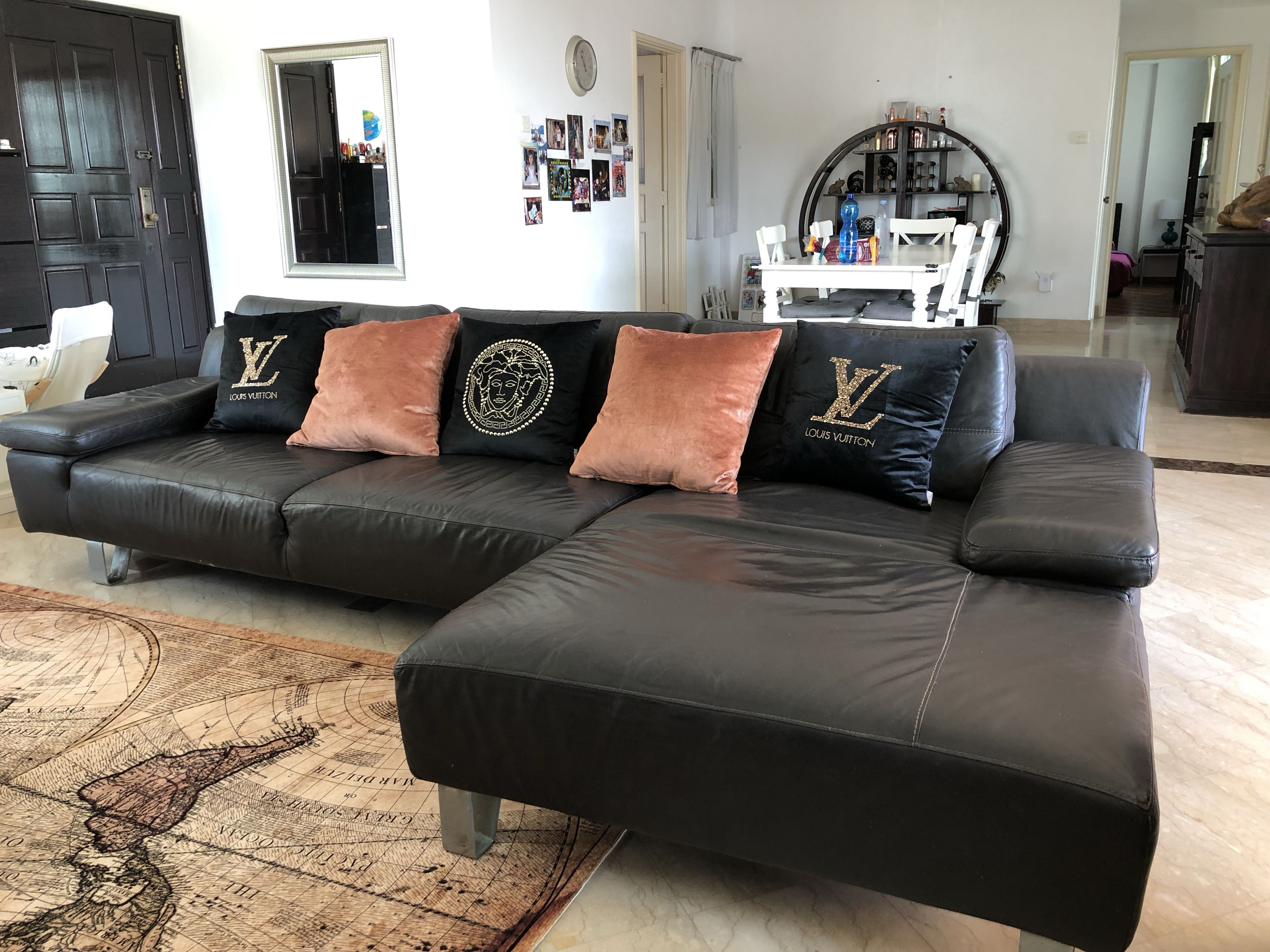 Dark Brown Genuine Leather Sofa For Home Or Office