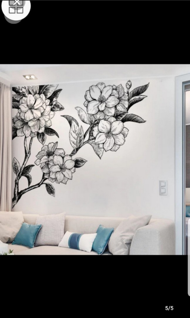 Large Simple Living Room Porch Wall Stickers Hand Painted Sketch