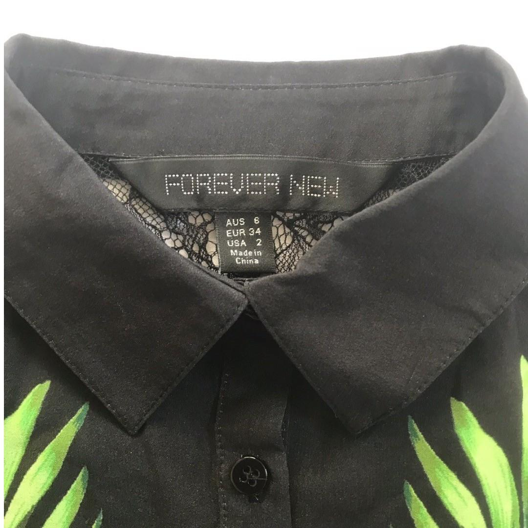 Forever New Black With Leafy Jungle Print Button Up Singlet Size 6 AU