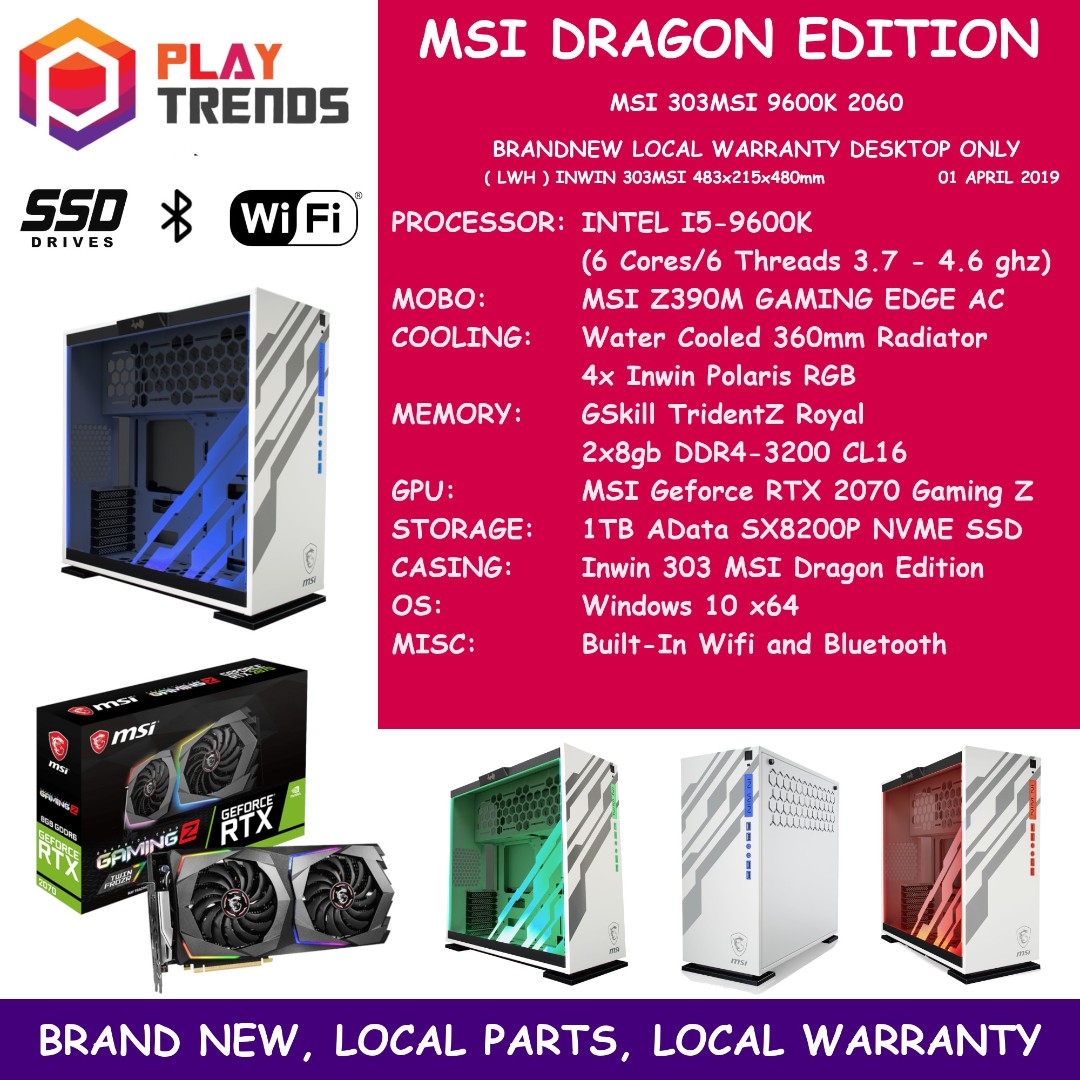 FREE DELIVERY Intel I5-9600K Inwin 303 MSI Dragon Edition MSI RTX 2070  Gaming Z Nvidia Geforce RTX2070 303MSI