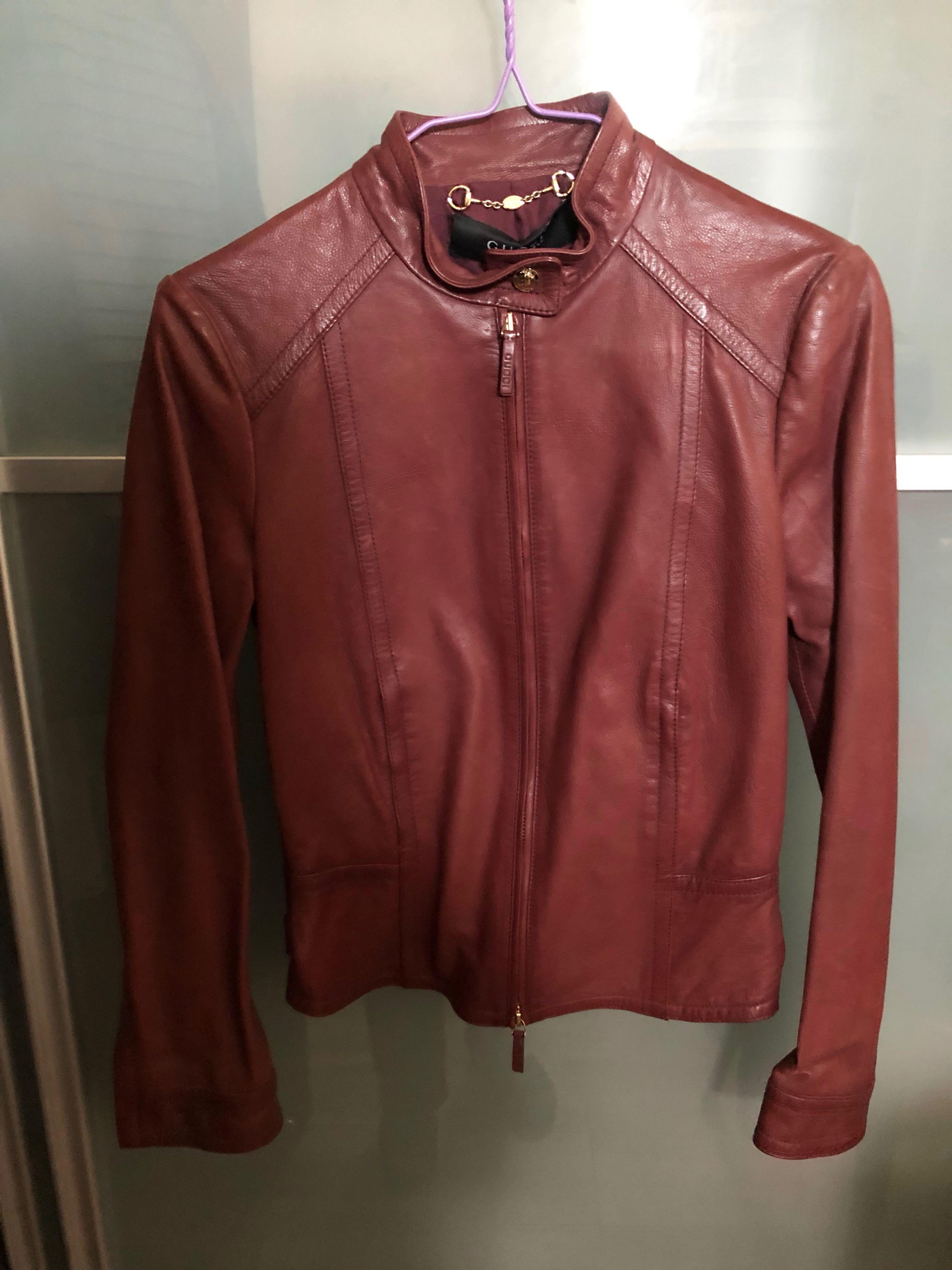 c7c6db36f Gucci 全新棗紅色皮褸size 36 new biker leather jacket, Women's Fashion, Women's  Tops on Carousell