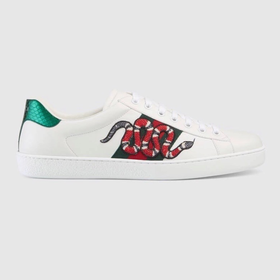 b81606d42 Gucci Ace White Leather Sneakers - Snake, Women's Fashion, Shoes ...