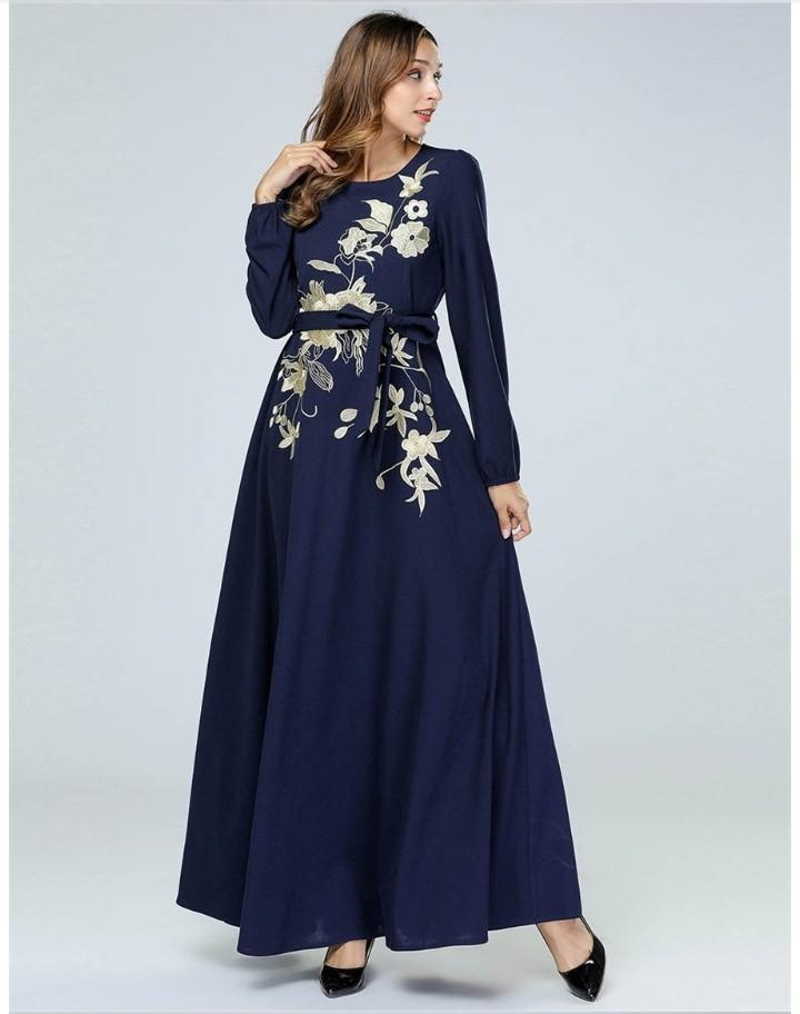 Islamic Women Turkish Abaya Embroidery  Dress